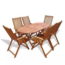 Patio Folding Dining Set Outdoor Garden Table & Chairs Yard Oval Solid W... - €474,49 EUR