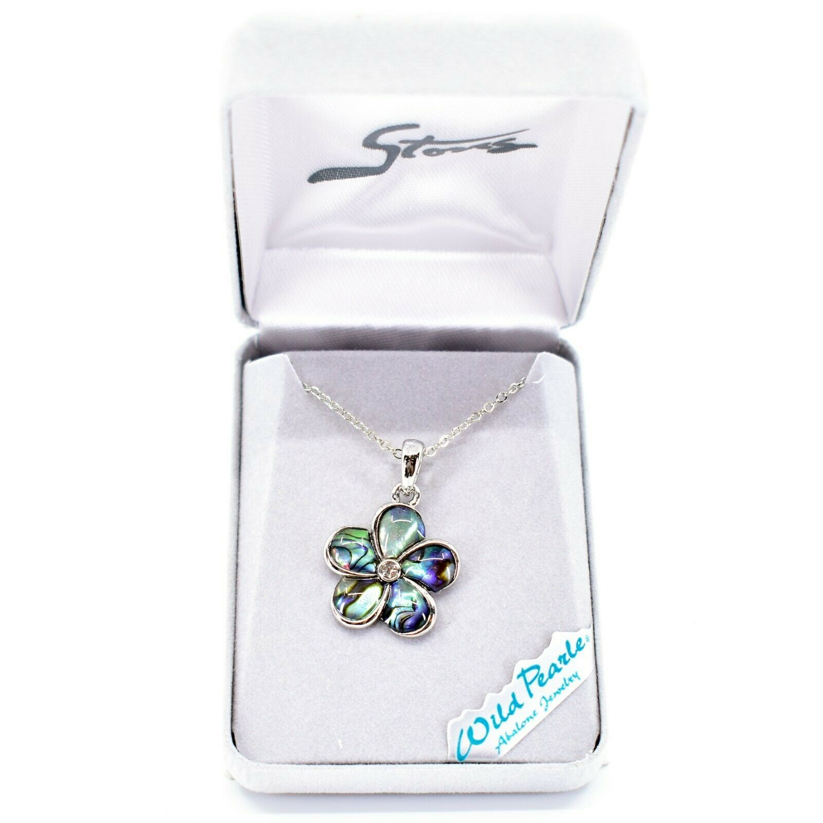 Storrs Wild Pearle Abalone Shell Forget Me Not Flower Pendant w Necklace