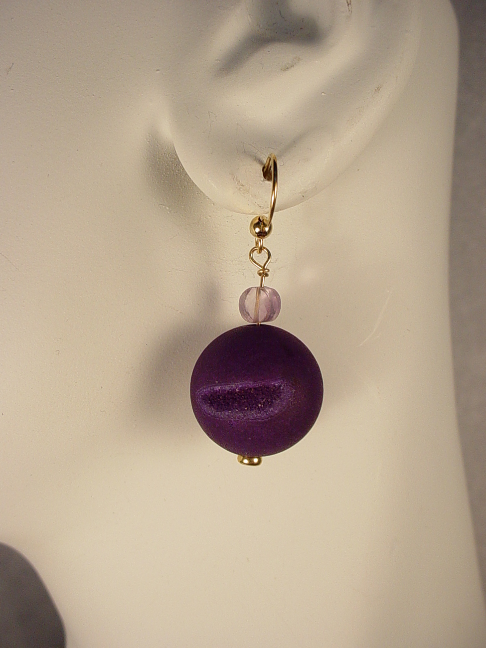 Purple Agate Drusy Earrings with Faceted Amethyst Beads and 14K Gold Fill Findin