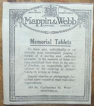 1917 Mappin & Webb Memorial Tablets Newspaper Ad - $3.00