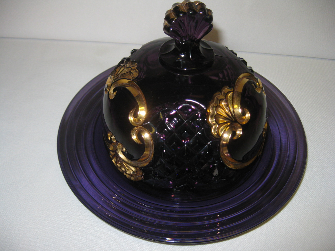 Vintage Riverside Glass Works Croesus Amethyst Purple Gold Butter Dish Dome Top