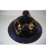 Vintage Riverside Glass Works Croesus Amethyst Purple Gold Butter Dish D... - $136.99