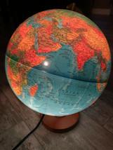 "Replogle Livingston Illuminated 12"" Globe Topographical w/ Wooden Base - $49.49"