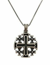925 Sterling Sterling Jerusalem Cross Pendant Necklace Jewelry with Cert... - $46.32