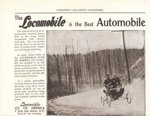 1902 Locomobile Roslyn Hill vintage 1/2 page print ad