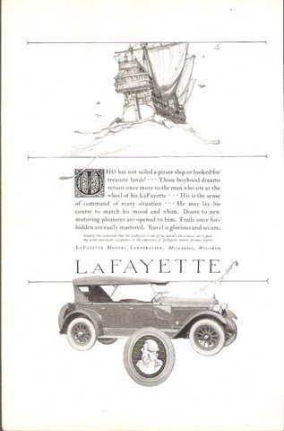 1922 LaFayette touring car old pirate ship print ad