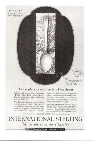 1926 International Sterling Trianon spoon print ad