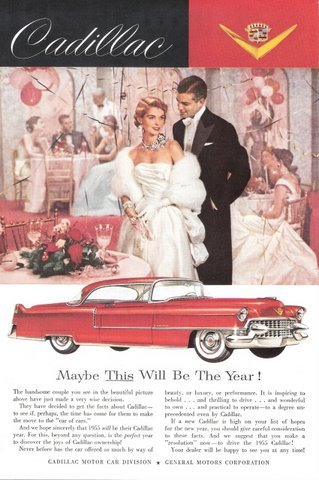 1955 Red Cadillac 2-Door Coupe Car vintage print ad