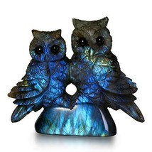 NATURSTON Handcrafted Owl Statue Natural Labradorite Detailed Carving An... - $87.23
