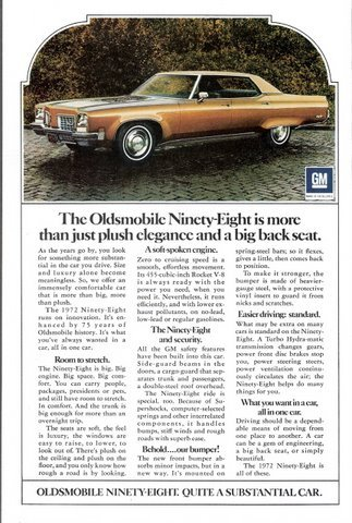 1971 Oldsmobile Ninety-Eight Substantial Car print ad