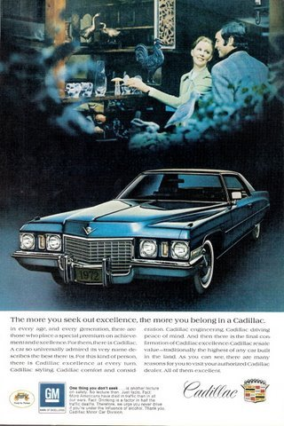 1972 blue Cadillac Coupe de Ville photo car print ad