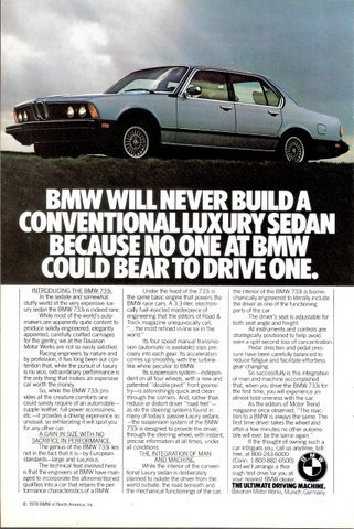 1978 BMW 733i Intergration of Man and Machine print ad