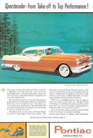 1955 Pontiac Star Chief Custom Catalina Sedan print ad