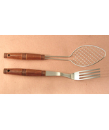Stainless Steel and Wood Handled Fork and Food Lifter Scoop Strainer - $13.00