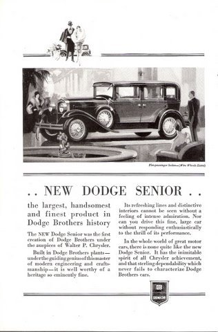 1929 Dodge Senior Five- Passenger Sedan print ad