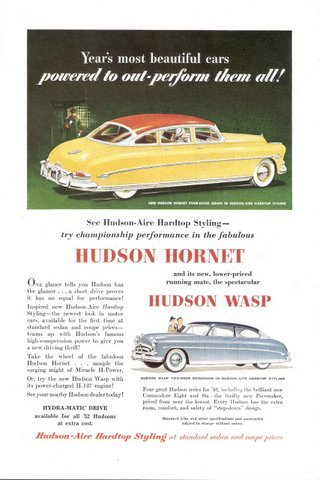 1952 Hudson Hornet 4-Door Sedan & Wasp 2-Door print ad