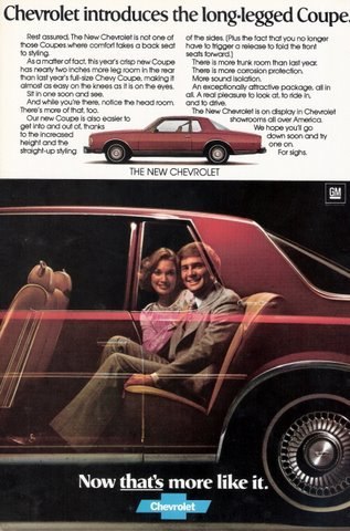 1977 Chervolet Red Long-Legged Coupe print ad
