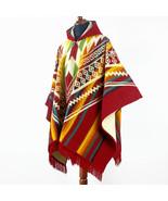 Alpaca wool Hooded Poncho Unisex Aztec pattern all seasons boho hippie X... - £64.73 GBP
