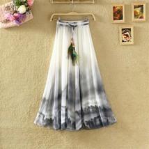 2017 Summer Bohemian Long Skirt Chiffon Vintage Faldas Largas Elegant Print Saia