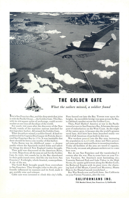 1963 Californians Inc. Golden Gate aerial view print ad