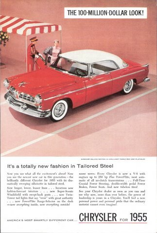 1955 Chrysler Windsor Deluxe Nassau 2-Door car print ad