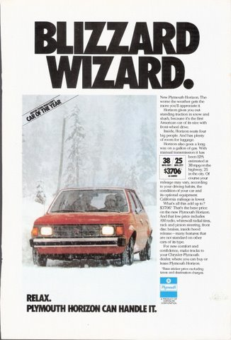 1978 Chrysler Plymouth Horizon action in snow print ad