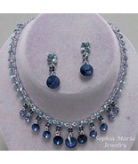 Blue Montana dangle crystal necklace earring set bridesmaid wedding party - $22.77
