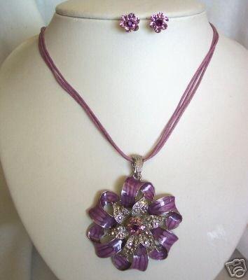 Purple Enamel Rhinestone Ribbon Earring Set Pierced