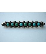 Vintage Zuni Bar Pin with Snake Eyes Turquoise - $125.00