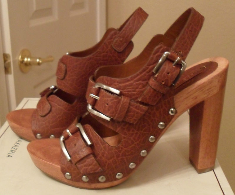 947f14eb7 BCBG MAXAZRIA Safari Brown Leather Slingback Sandals Sz 6.5 NEW (MAKE AN  OFFER) -  183.15