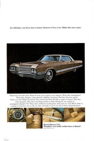 1965 GM Buick Electra 225 internal view colour print ad