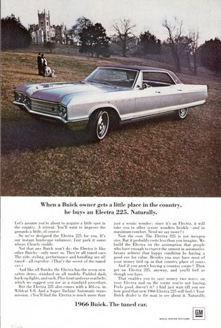 1966 Buick Electra 225 country side automobile print ad