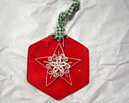 White Star on Red glass Ornament, Handcrafted Paper Quill New - $9.99