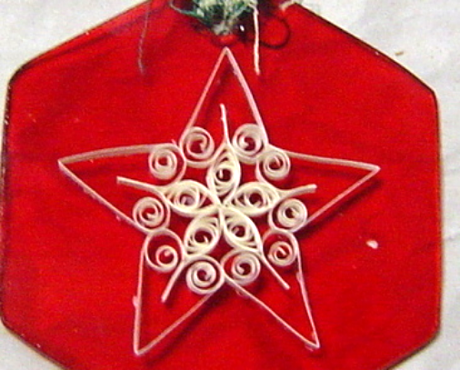White Star on Red glass Ornament, Handcrafted Paper Quill New