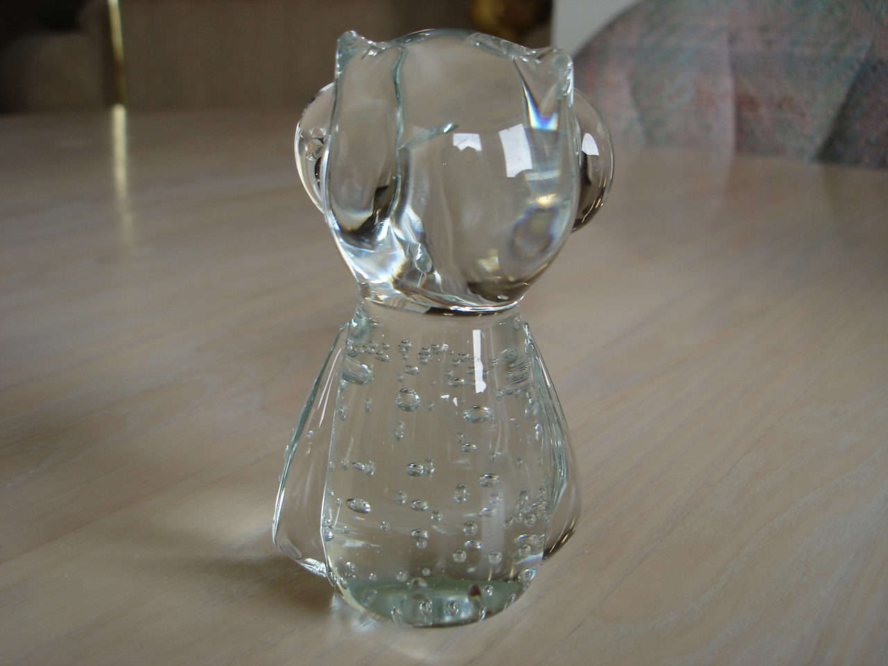 Collectible Solid Glass Figural Owl, Controlled Bubbles