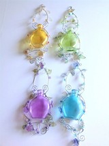 Sun Catchers 4 Lot Large Floral Holders 11-15 inch Mid Century Hand Blow... - $57.33