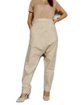 SALE Harem Pants Low Crotch Unisex Gothic Style Beige Cotton L-02 - $49.00