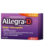 Allegra D 12 Hour Allergy Relief 2 x 30 Caplets Canadian  - $79.99