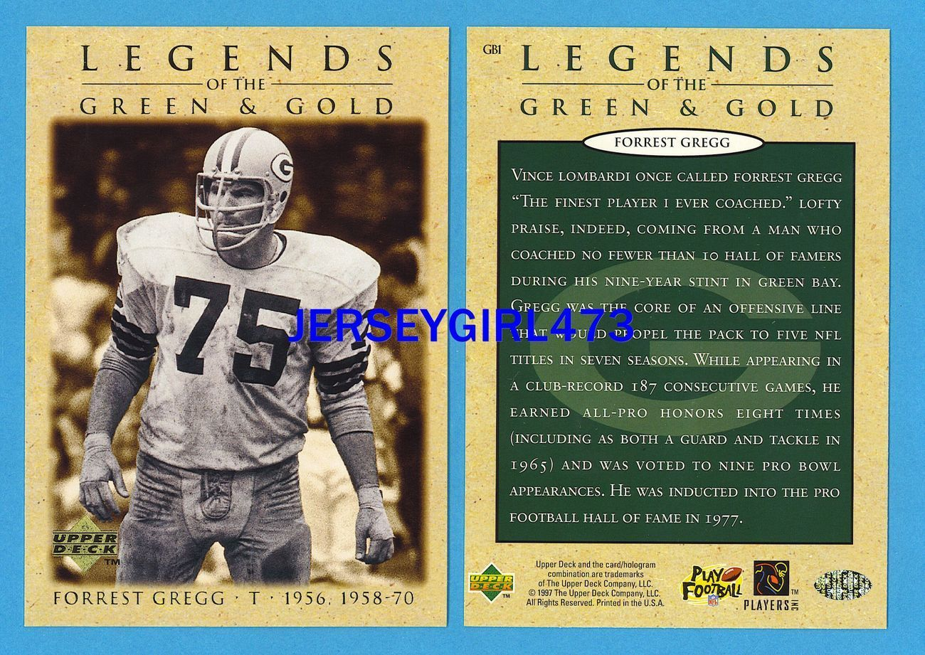 """Forrest Gregg 1997 Upper Deck 3.5"""" x 5"""" Packers Legends of the Green & Gold Card"""