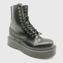 Jeffrey Campbell Womens Platform Combat Boots Black Leather Side Zip Sz 8.5M NEW - $86.08