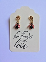 Ladybug 14Kt Dangle Post Earrings, 14kt Gold Plate, Drop Earrings, Gift ... - $19.95