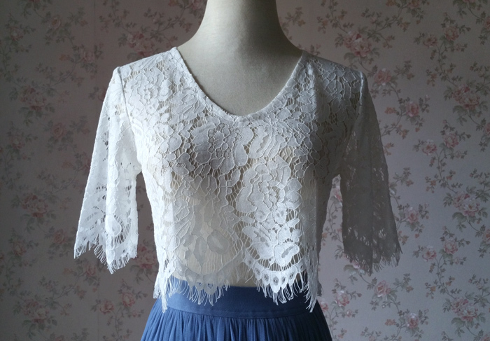 White lace top vneck 7