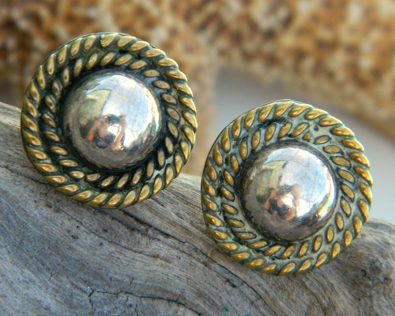 Vintage taxco mexico sterling silver ball rope earrings mixed metal