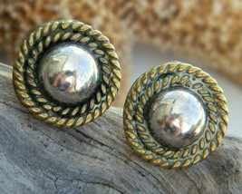 Vintage taxco mexico sterling silver ball rope earrings mixed metal thumb200