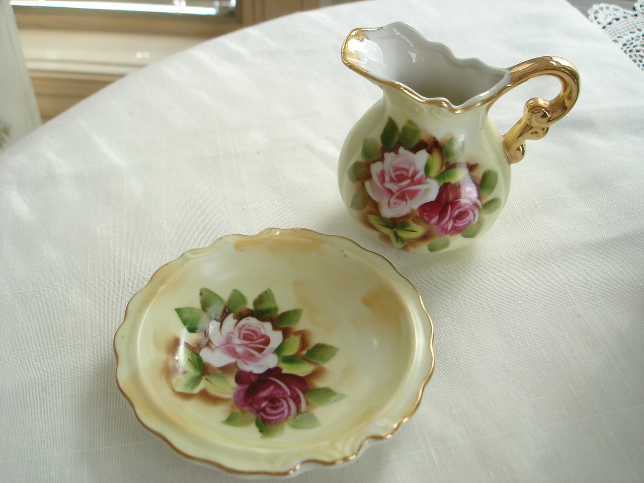 Vintage Norcrest Miniature Porcelain Bowl, Pitcher, Roses, Gold Trim