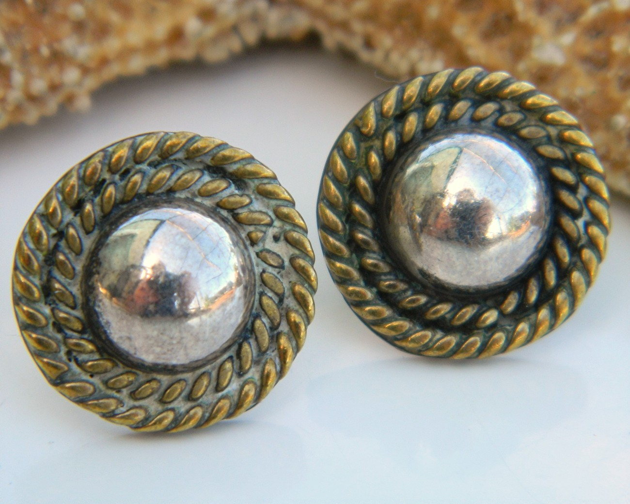 Vintage Taxco Mexico Sterling Silver Ball Rope Earrings