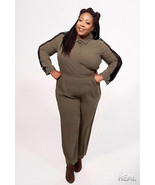 ELOQUII Jumpsuit Olive Green Black Lace Inserts Long Sleeve Pockets Plus... - $65.20