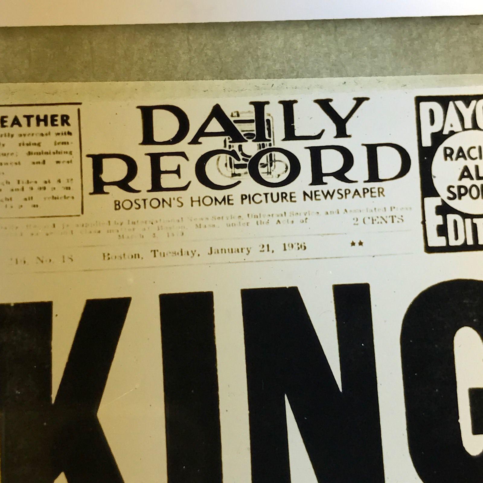 Vtg Magic Lantern Glass Slide Photo King George Dead Daily Record Headline