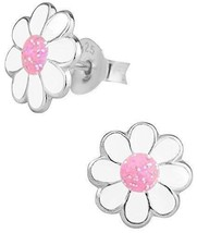 Sterling Silver Hypoallergenic Pink White Glitter Flower Stud Earrings B... - $15.30
