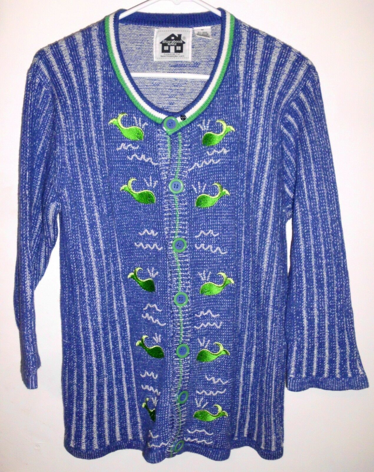 STORYBOOK KNITS Cardigan MEDIUM Sweater Embroidered Whale Blue Green Beads Women - $48.50